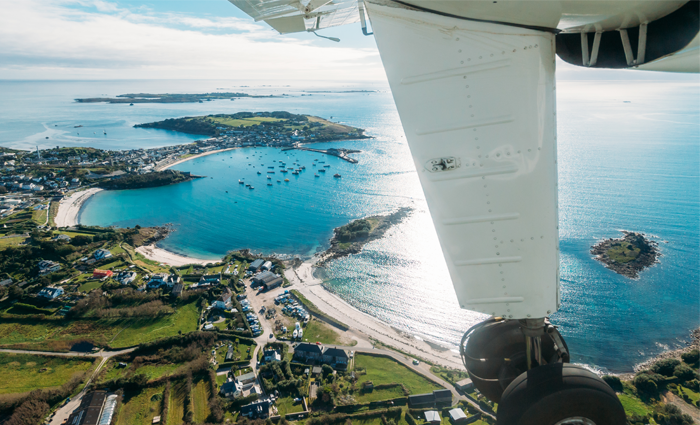 Aerial view from plane - St. Mary's, Isles of Scilly