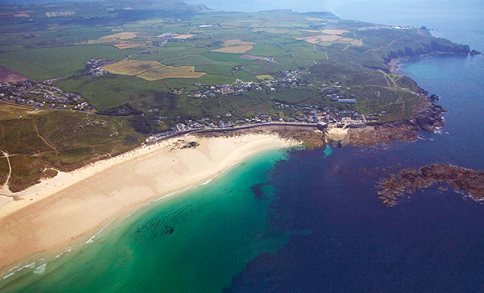 Aerial view of Sennen Cove, Cornwall