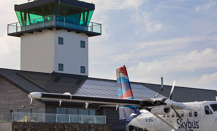 Skybus with Land's End Airport ATC Tower