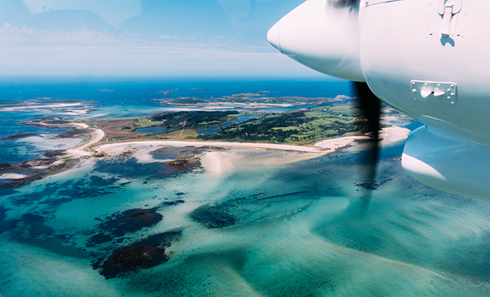Skybus flying over Tresco to the Isles of Scilly