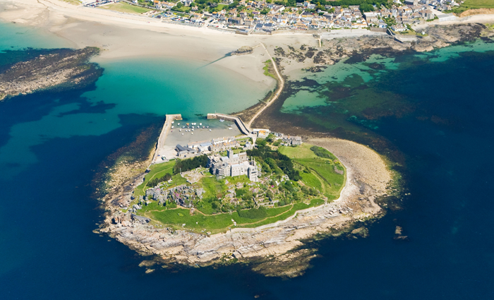 Aerial view of St. Michael's Mount, Cornwall